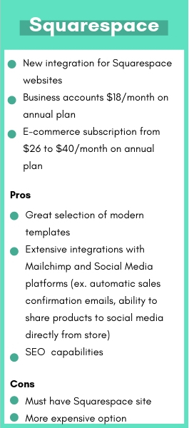 Pros and cons of Squarespace commerce